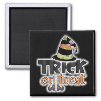 Gorra Halloween de la bruja del truco o de la invi Imán Cuadrado