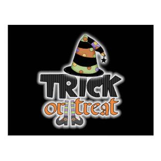Gorra Halloween de la bruja del truco o de la Tarjetas Postales