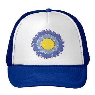 Gorra hermoso del camionero del flor - azul