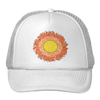 Gorra hermoso del camionero del flor - naranja