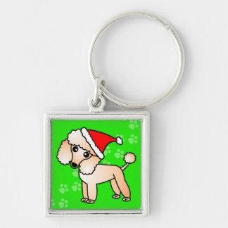 Gorra lindo de Santa del dibujo animado del canich Llavero Cuadrado Plateado