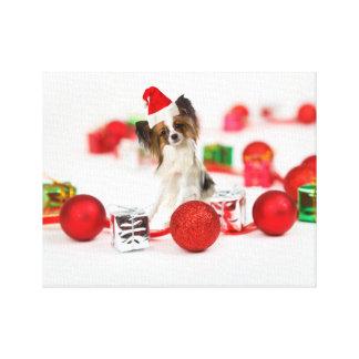Gorra lindo de Santa del navidad del perro de Impresión En Lienzo