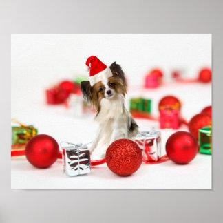Gorra lindo de Santa del navidad del perro de Póster