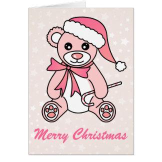 Gorra lindo de Santa del oso de peluche del navida Felicitación