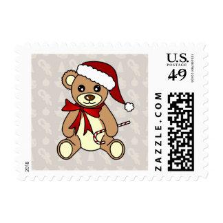 Gorra lindo de Santa del oso de peluche del Sellos Postales