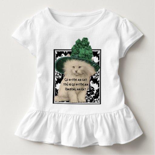 Gorra lindo del verde del gato del vintage con la playera de bebé