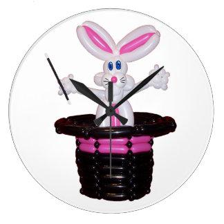 Gorra mágico con la escultura del globo del conejo reloj redondo grande