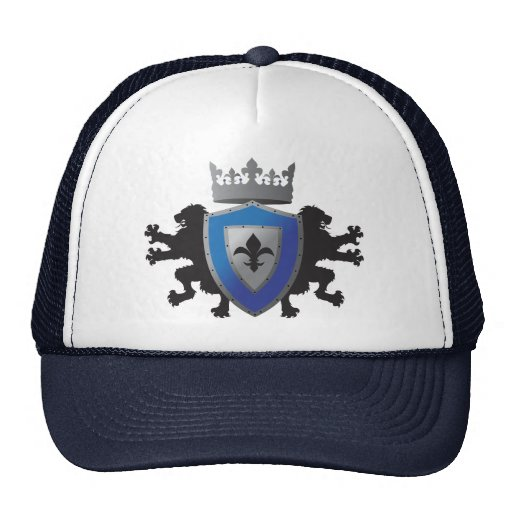 Gorra medieval azul de la heráldica del león