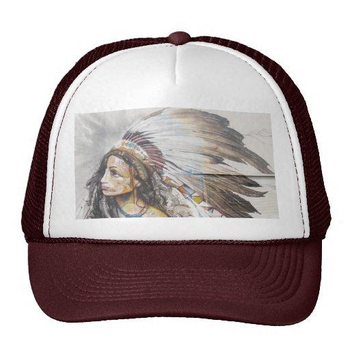 Gorra nativo de la pintada de la mujer