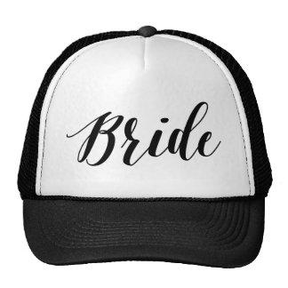 Gorra negro de la escritura de la novia