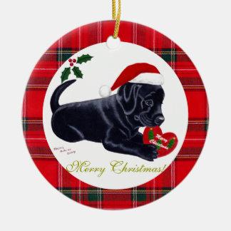 Gorra negro de Santa del perrito de Labrador del Adorno Navideño Redondo De Cerámica
