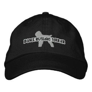 Gorra negro del bordado de Terrier del ruso de la  Gorra De Béisbol