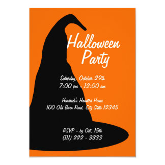 "Gorra negro grande de Halloween Invitación 5"" X 7"""