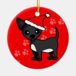Gorra negro lindo de Santa de la chihuahua - verde Ornamento De Navidad