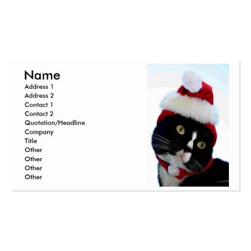Gorra negro y blanco de Santa del gato que no mira Tarjetas De Visita