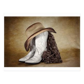 Gorra occidental del cordón de la bota de la postal