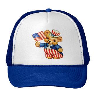 Gorra patriótico del oso del vintage