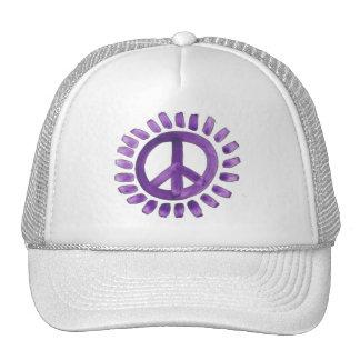 gorra pintado púrpura del signo de la paz