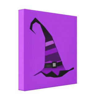 Gorra púrpura de las brujas de Halloween Impresiones En Lona