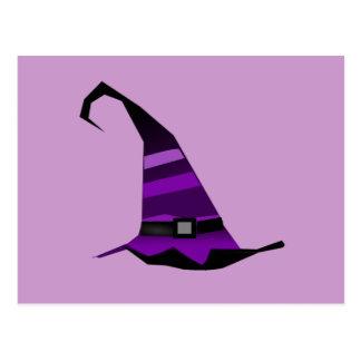 Gorra púrpura de las brujas de Halloween Postal