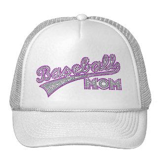 Gorra púrpura y gris de la mamá del béisbol
