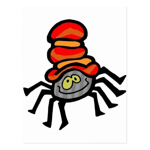 Gorra que lleva de la araña el Halloween Postales