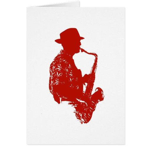Gorra que lleva de saxofón del jugador del esquema tarjeta de felicitación