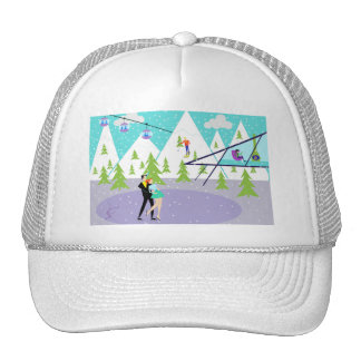 Gorra retro del camionero de la estación de esquí
