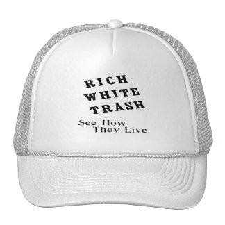 Gorra rico de la basura blanca
