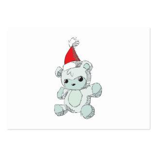 Gorra rojo azul lindo de Santa del oso de peluche Tarjetas De Negocios