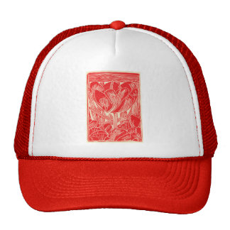 Gorra rojo de la gorra de béisbol del tulipán