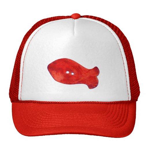 Gorra rojo de los pescados de las gotas