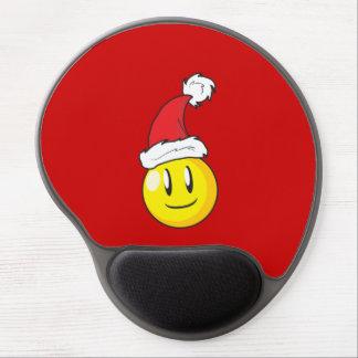 Gorra rojo de Santa del navidad amarillo feliz de Alfombrillas De Raton Con Gel