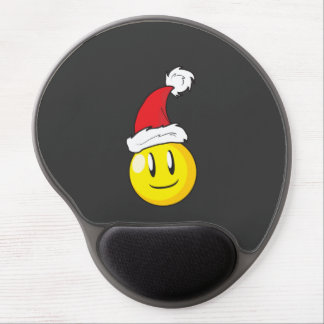 Gorra rojo de Santa del navidad amarillo feliz de Alfombrilla De Raton Con Gel