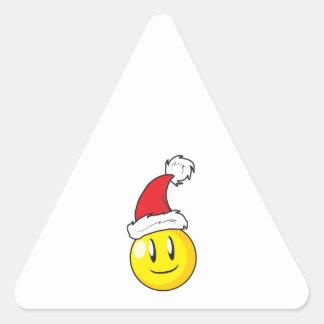 Gorra rojo de Santa del navidad amarillo feliz de Calcomanía De Triangulo