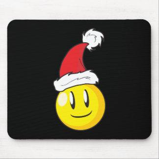 Gorra rojo de Santa del navidad amarillo feliz de Tapete De Ratón