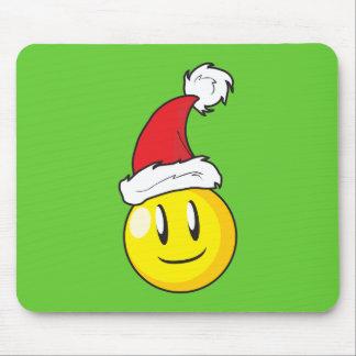 Gorra rojo de Santa del navidad amarillo feliz de Alfombrilla De Ratón