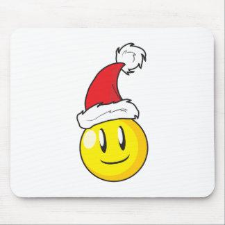Gorra rojo de Santa del navidad amarillo feliz de Tapete De Raton