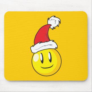 Gorra rojo de Santa del navidad amarillo feliz de Alfombrillas De Raton