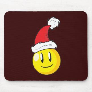 Gorra rojo de Santa del navidad amarillo feliz de Alfombrilla De Raton