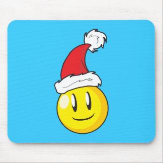 Gorra rojo de Santa del navidad amarillo feliz de Tapetes De Ratón