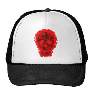 Gorra rojo del camionero del cráneo grande