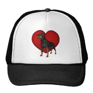 Gorra rojo del corazón del perro de Rottweiler