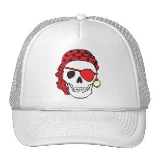 Gorra rojo del cráneo del pirata