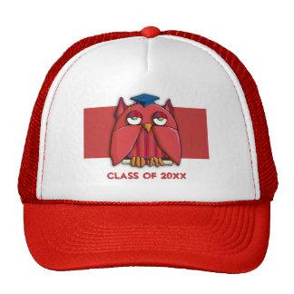 Gorra rojo del rojo del graduado del búho
