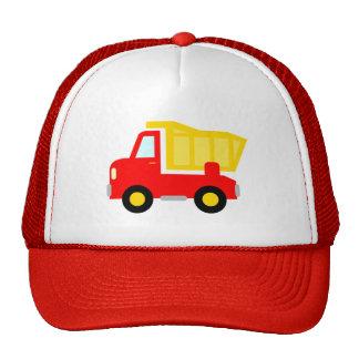 Gorra rojo lindo del camionero del camión volquete