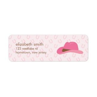 Gorra rosado de la vaquera etiqueta de remite