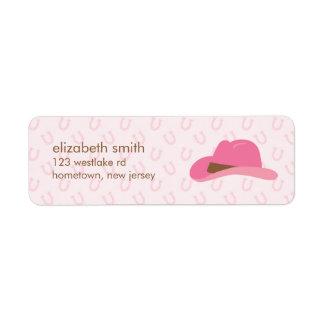 Gorra rosado de la vaquera etiquetas de remite