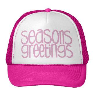 Gorra rosado de los saludos de las estaciones