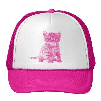 Gorra rosado del camionero del gato del gatito